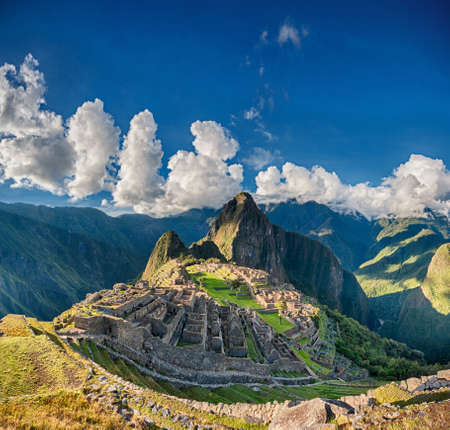 Machu Picchu beautiful panorama overview above the world heritage site Stock Photo