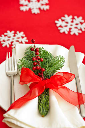 dinner table: Christmas Dinner table setting with snow flake Stock Photo