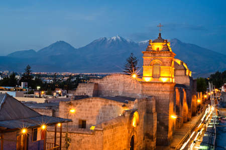 catalina convent arequipa street view during the golden hour Standard-Bild