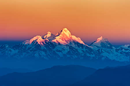Himalayan Mountains View from Mt. Shivapuri, Shivapuri Nagarjun National Park Stock Photo