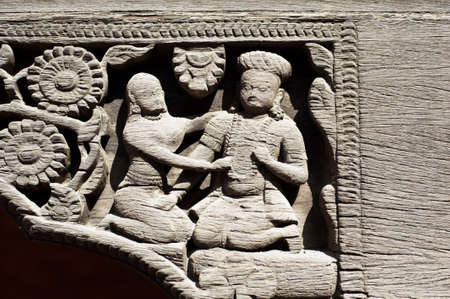 Stone relief in Patans Durbar square, Kathmandu, Nepal  photo