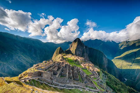 inca: Machu Picchu an over view above the lost city Stock Photo