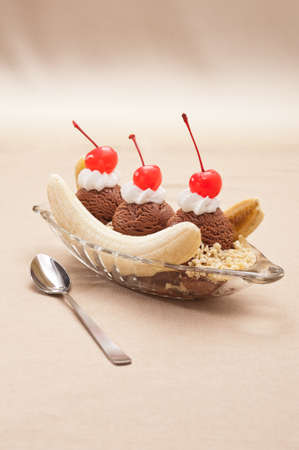 eis: Banana Split Ice Cream isolated over color background