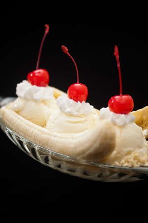 the split: Banana Split Ice Cream isolated  Stock Photo