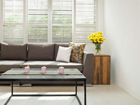 louvered: Grey sofa with pillows infront of lovered windows