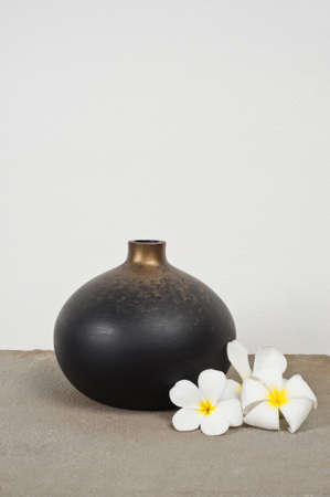 luxus: Empty vases decorated with Frangipani flower over side board