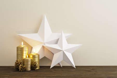 christmas deco: Dos estrellas con tres velas de oro como deco Navidad