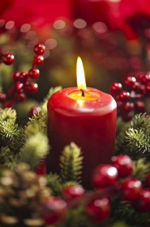 advent wreath: Advent wreath over red background with winter rose and berries