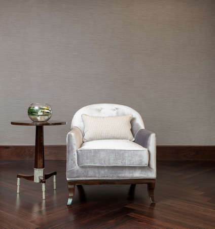 side table: Coffee table chair combination in elegant setting