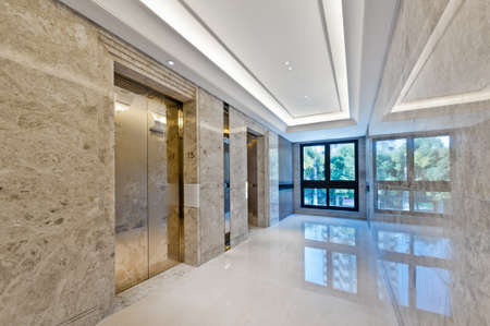 without people: Lift lobby in beautiful marble without people Stock Photo