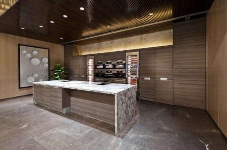 Coin cuisine avec sol en marbre d'une salle d'exposition Banque d'images - 33580971
