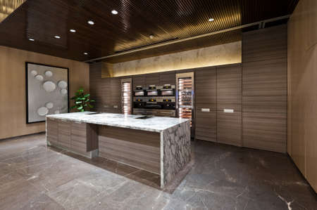 area: Kitchen area with marble floor of a show room