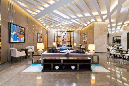 luxury hotel room: Interior of a sales office for a urban residential construction project
