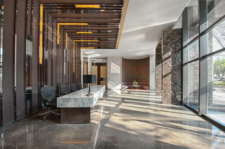 Reception area of a sales office on a sunny day 스톡 콘텐츠