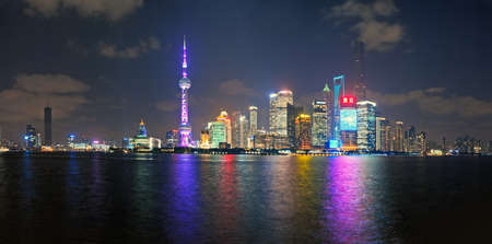 China Shanghai Pudong district Skyline in the evening