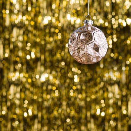 Red Christbaumschmuck Uber Gold Glitter Hintergrund Lizenzfreie