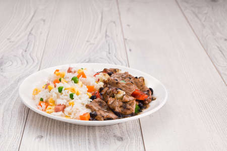 pepe nero: Vegetable beef fried rice with black bean sauce