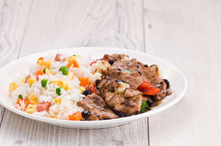 rice plate: Vegetable beef fried rice with black bean sauce