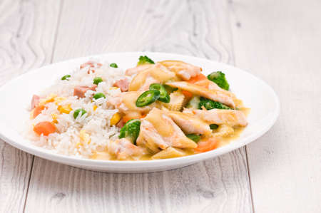 curry dish: Thai Green Curry dish over bright surface