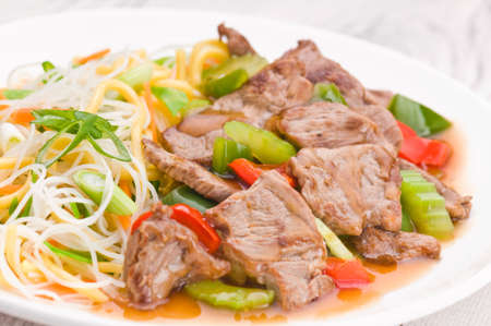 mongolian: North Asian dish Mongolian Noodles with Beef Stock Photo