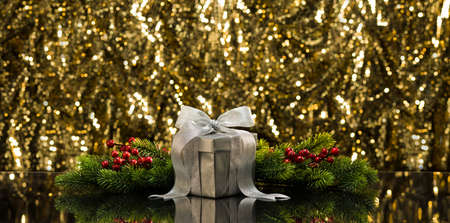 tree branches: Silver present and Christmas tree branches in front of a sparkling background