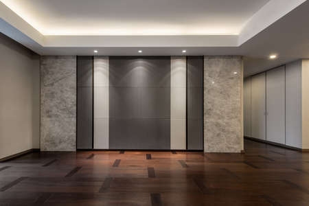 Illuminated and empty living room in grey color Standard-Bild