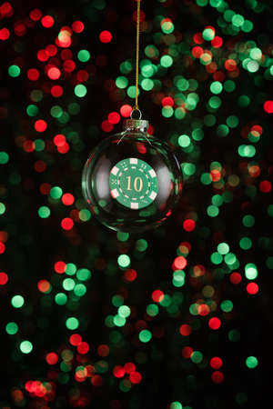 christmas element: Christmas ornament with poker game element in red and green