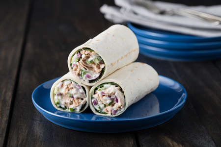 baby spinach: Tuna burritos with cucumber red onion and mayonnaise on rustic background