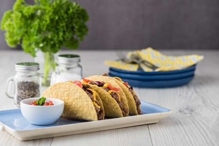 fingerfood: Beef tacos with salsa,cheddar cheese, tomato and beans