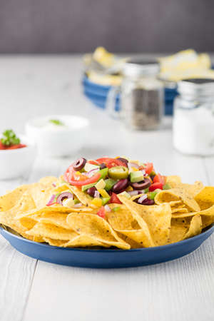 fingerfood: Vegetarian nachos tomato, beans, capsicum, avocado, olive, jalapeno and dipping sauces Stock Photo