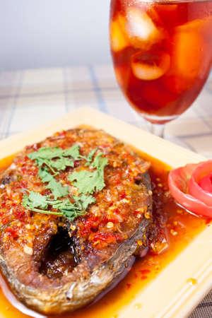thai food and icetea on the table