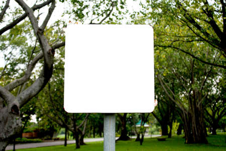Banner white background square in the park. Stock Photo - 8082097