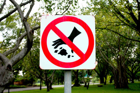 Do not waste warning signs in the park. Stock Photo - 8082098