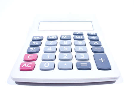 addition: Calculator on a white background. Using addition, subtraction, basic calculator.