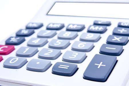 Calculator on a white background. Using addition, subtraction, basic calculator.