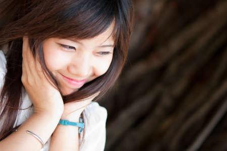 shy: thai girl shy pretending , girl color black hair. Stock Photo