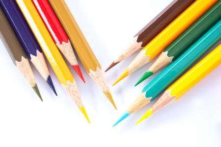 positioned: Bar color pencil variety. South facing head positioned together. Stock Photo