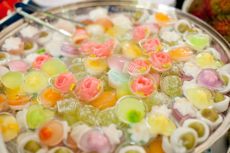 nice food: Assorted Thai dessert in various colors.  Фото со стока