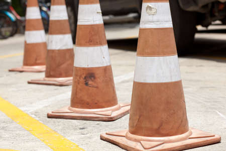 Traffic funnels by the road side Stock Photo