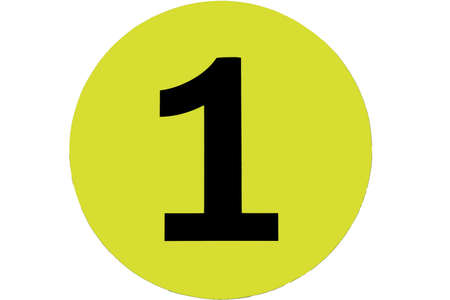 number one in yellow circle on the background isolated. photo