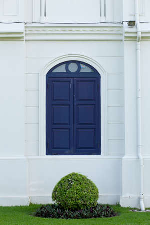 Deep blue window on a wall from an outdoor view Stock Photo - 9605536