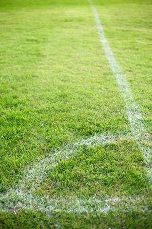 corner kick: Edge of the corner of a football field. Stock Photo