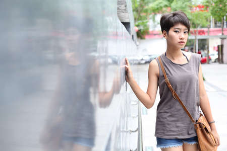 portrait asian girl.beauty portrait asian girl outdoor.