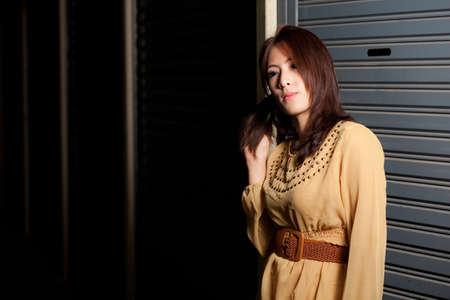 fashion portrait beauty asian girl on outdoor.light fashion portrait. Stock Photo - 11013018