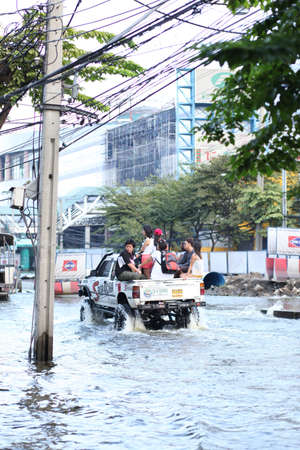 Massive flooding in Bangkok at the end of the year. Travel trouble. Stock Photo - 11829464