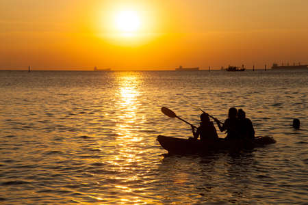 Travel at sea. Boating activities on Koh Si evening. photo