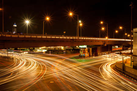 Light is the intersection at night, traffic intersection at night, the lights go out. photo
