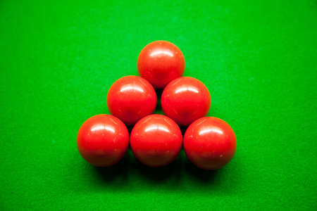 snooker balls: Snooker balls,six balls on the table. Snooker balls in the middle of the picture.