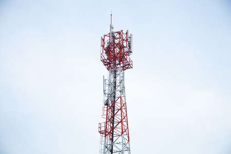 Transmission towers phone. Wireless mobile telecommunication systems. There are a wide range of frequencies. Stock Photo - 16533163