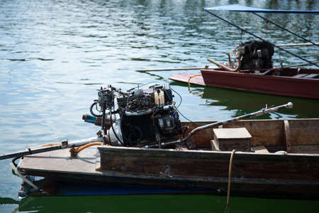 engine of the ship. Motor boats moored in the river. Stock Photo - 17607001